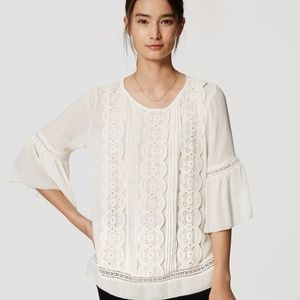 NWT LOFT 'Lacy' white bell sleeve top